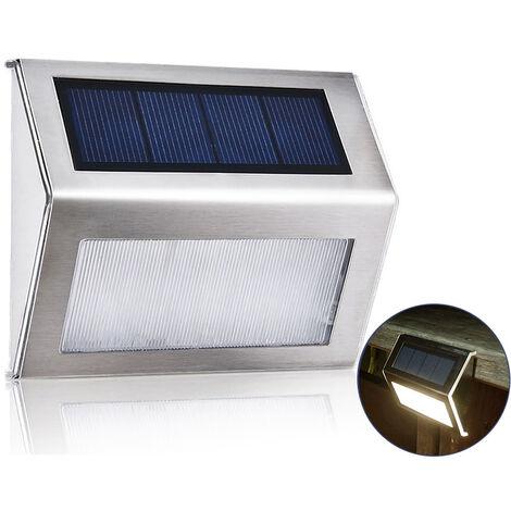 Luz de jardin solar de acero inoxidable, para caminos de escaleras, blanco calido