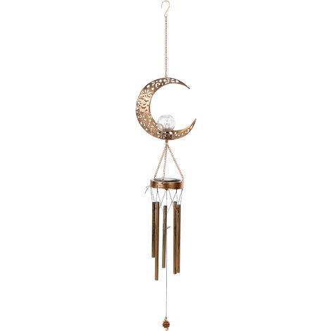 Luz de jardin solar hueca de hierro forjado, carillon de viento de luna