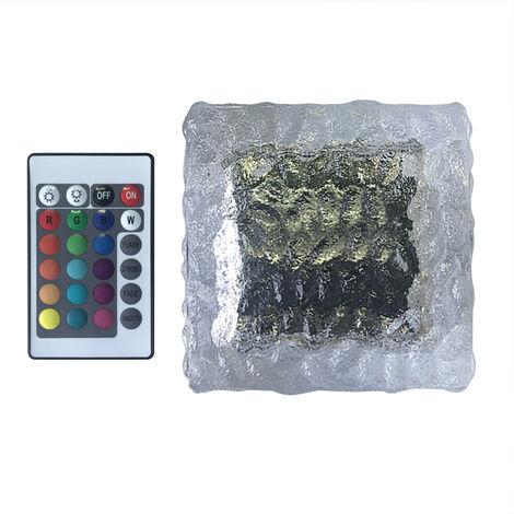 Luz de ladrillo de vidrio solar LED, luces al aire libre en forma de cubo de hielo RGB de 16 colores