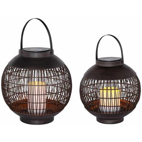 Luz de linterna solar jaula de lámpara de mesa solar al aire libre, efecto de fuego de luz colgante, negro metálico, batería LED, juego de 2