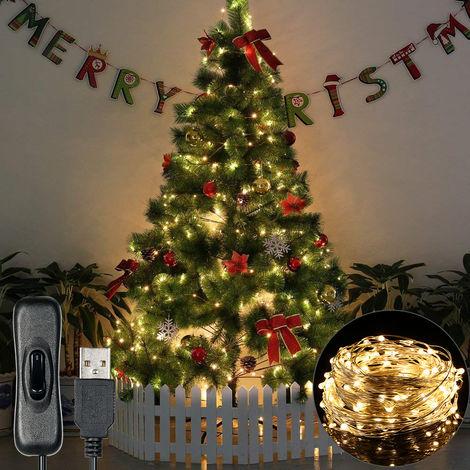 Luz de Navidad 12m 120 LED luces de cadena USB IP65 a prueba de agua caliente blanca para Navidad, boda, interior / exterior, el alambre de plata