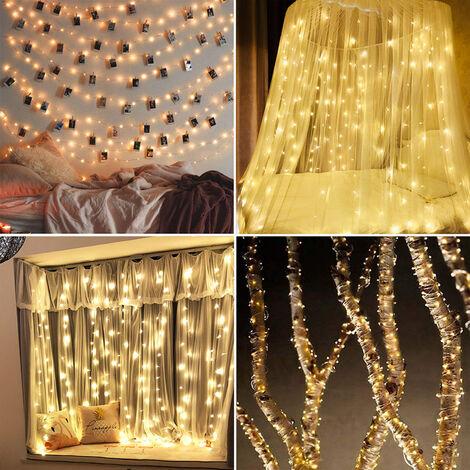 Luz de Navidad 590in 150 LED luces de cadena USB IP65 a prueba de agua caliente blanca para Navidad, boda, interior / exterior, el alambre de plata, 15m