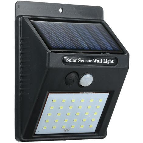 Luz de pared con sensor de movimiento PIR de energia solar, 30 LED