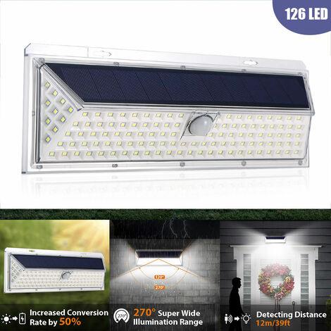 Luz de pared de 126 bombillas LED, sensor de movimiento PIR IP65 con energia solar, rango de iluminacion de 270 ¡ã
