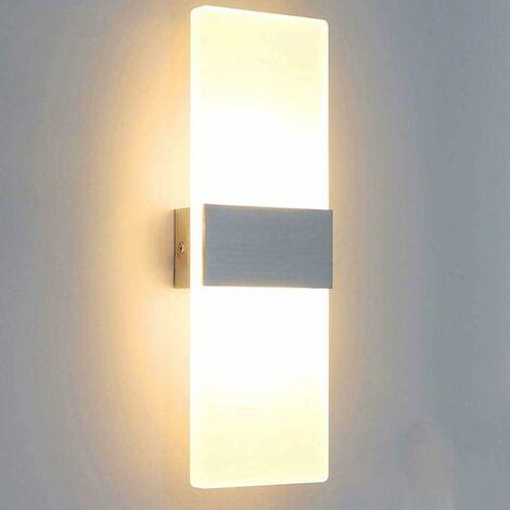Luz de Pared LED Simple Lámpara de Pared de Interior 6W Up Down Aplique de Pared Acrílico Moderno para Sala de Estar Dormitorio Camino Pasillo Escaleras Balcón Blanco Cálido