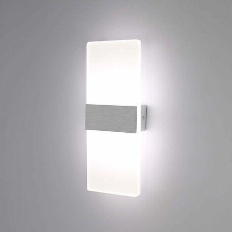 Luz de Pared LED Simple Lámpara de Pared de Interior 6W Up Down Aplique de Pared Acrílico Moderno para Sala de Estar Dormitorio Camino Pasillo Escaleras Balcón Blanco Frío