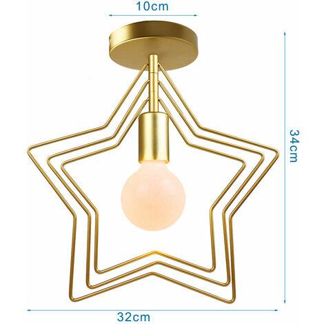 Luz de Pared Rotativo Creativa Moderna Forma de Estrellas Lámpara de Araña Luz de Techo Nórdica Posmoderna para Bar Oficina Sala de Estar Café Oro