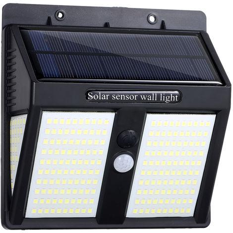 Luz de pared solar de tres lados, iluminacion y sensor de movimiento PIR