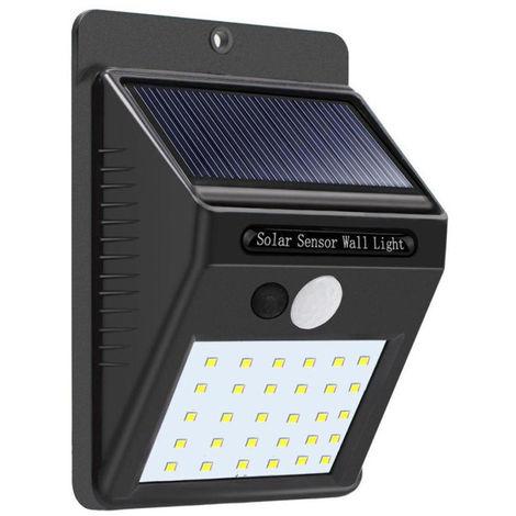 Luz de pared solar, sensor de movimiento, lampara de seguridad para jardin