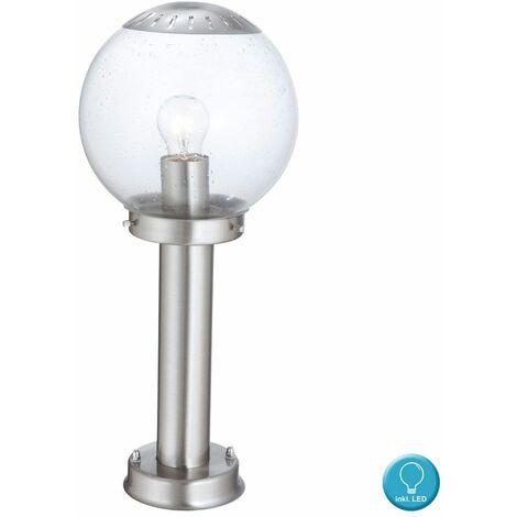 Luz de pedestal de efecto de fuego para lámpara de pie para lámpara de vidrio para exteriores, forma de jardín, con bombillas LED