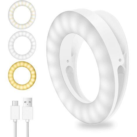 Luz de Selfie, luz de anillo de 40 LED, luz de cámara Selfie con 3 brillos ajustables, luz de anillo ajustable recargable por USB para todos los teléfonos móviles, tabletas