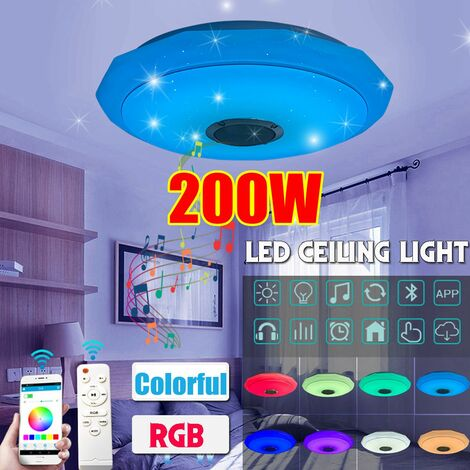 Luz de techo acrílica LED de 200W RGB 6000K Altavoz de música Bluetooth Lámpara colgante multicolor Luz de techo regulable (Control remoto + Control de aplicación)