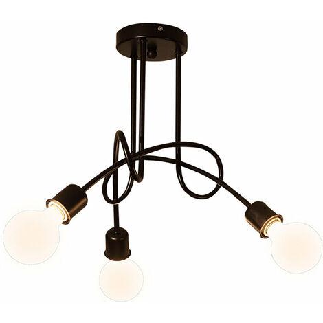 Luz de Techo Creativa Lámpara de Techo Vintage 3 Cabezas Araña Industrial Retro Lámpara Colgante de Metal E27 Negro
