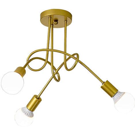 Luz de Techo Creativa Lámpara de Techo Vintage 3 Cabezas Araña Industrial Retro Lámpara Colgante de Metal E27 Oro