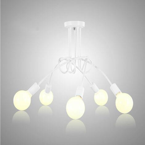 Luz de Techo Creativa Lámpara de Techo Vintage 5 Cabezas Araña Industrial Retro Lámpara Colgante de Metal E27 Blanco