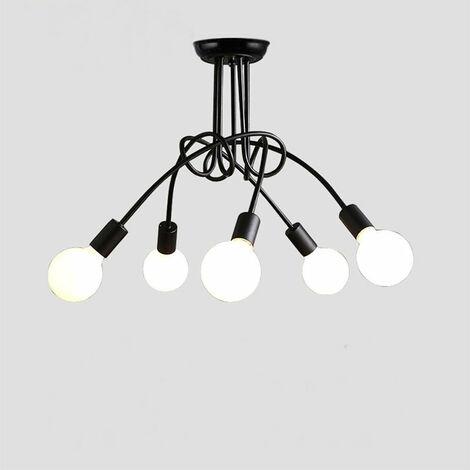 Luz de Techo Creativa Lámpara de Techo Vintage 5 Cabezas Araña Industrial Retro Lámpara Colgante de Metal E27 Negro