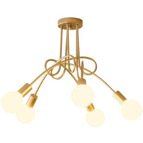 Luz de Techo Creativa Lámpara de Techo Vintage 5 Cabezas Araña Industrial Retro Lámpara Colgante de Metal E27 Oro