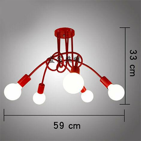 Luz de Techo Creativa Lámpara de Techo Vintage 5 Cabezas Araña Industrial Retro Lámpara Colgante de Metal E27 Rojo