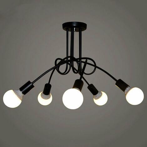 Luz de Techo Creativa Lámpara de Techo Vintage 5 Cabezas Lámpara Colgante de Metal E27 Negro Araña Industrial Retro