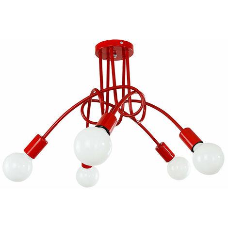 Luz de Techo Creativa Lámpara de Techo Vintage 5 Cabezas Lámpara Colgante de Metal E27 Rojo Araña Industrial Retro