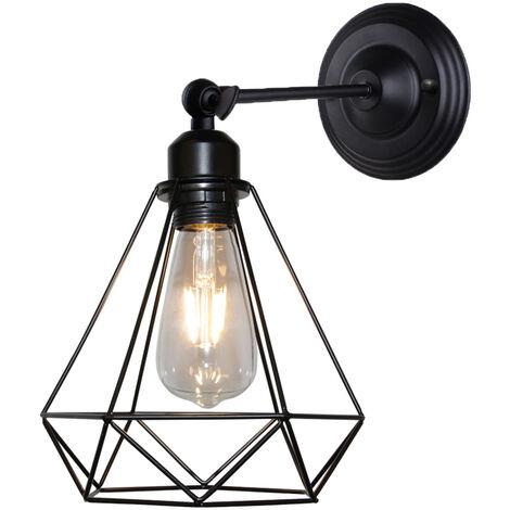 Luz de Techo Industrial Luz de Pared de Forma de Diamante Antiguo Luz de Pared de Hierro de Metal para Dormitorio Bar Cafe Negro 20cm