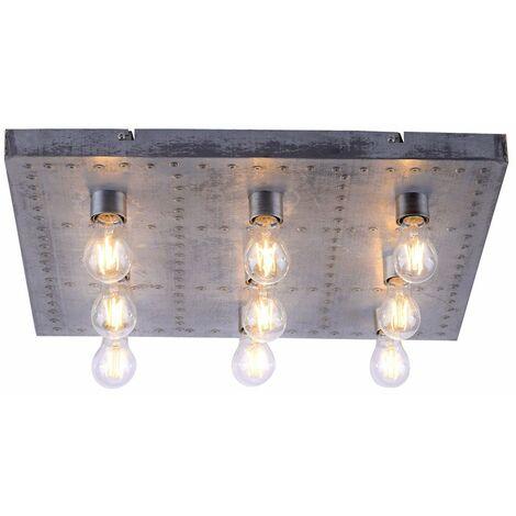 Luz de techo, lámpara de comedor, iluminación de remaches de estilo industrial, en un juego que incluye bombillas LED