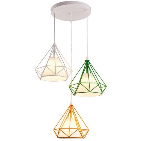 Luz de Techo Lámpara de Diamantes Creativa Colorido 3 Cabezas Luz Colgante Retro Industrial para Office Bar Café de Blanco Verde Amarillo