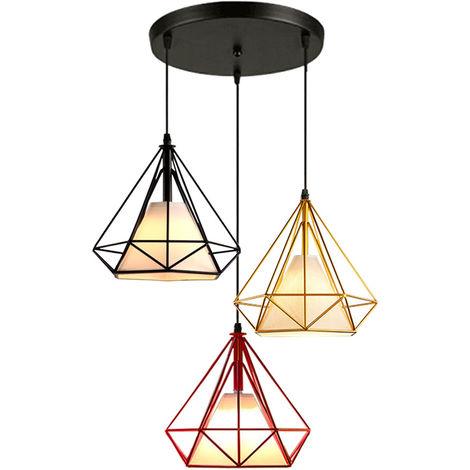 Luz de Techo Lámpara de Diamantes Creativa Colorido 3 Cabezas Luz Colgante Retro Industrial para Office Bar Café de Negro Rojo Oro