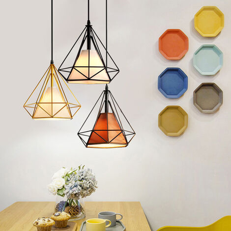 Luz de Techo Lámpara de Diamantes Creativa Colorido 3 Cabezas Luz Colgante Retro Industrial para Office Bar Café de Oro Negro Marrón