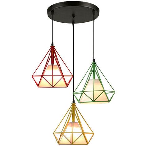 Luz de Techo Lámpara de Diamantes Creativa Colorido 3 Cabezas Luz Colgante Retro Industrial para Office Bar Café de Rojo Amarillo Verde