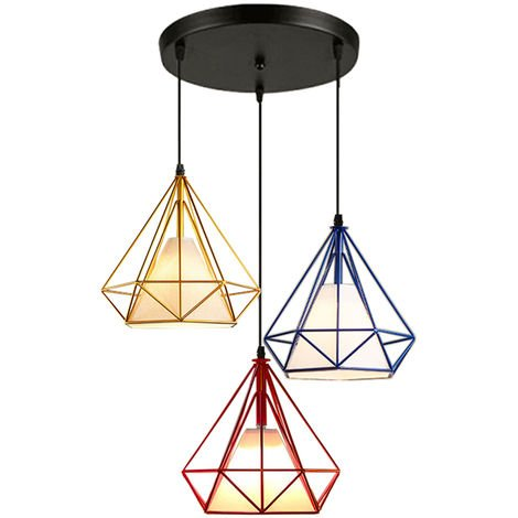 Luz de Techo Lámpara de Diamantes Creativa Colorido 3 Cabezas Luz Colgante Retro Industrial para Office Bar Café de Rojo Oro Azul Marino