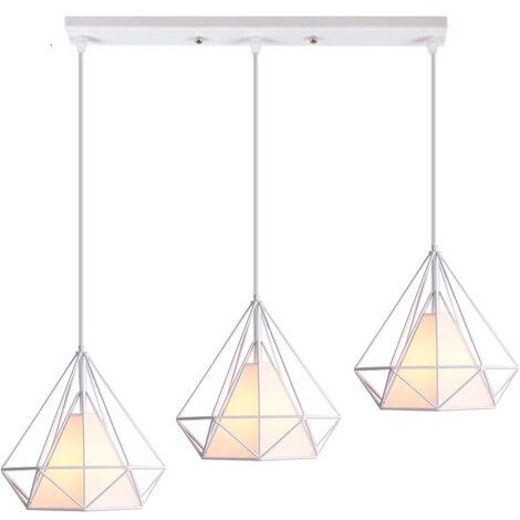 Luz de Techo Moderno 3 Cabeza Diamante Vara Largo Lampara Colgante Cage Pájaro Grupo de 3 Vías Jaula de Hierro Metal Decoracion de Comedor Cocina Sala (Blanco)