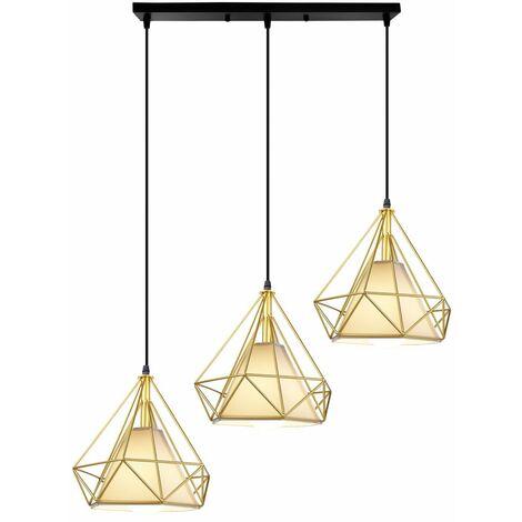 Luz de Techo Moderno 3 Cabeza Diamante Vara Largo Lampara Colgante Cage Pájaro Grupo de 3 Vías Jaula de Hierro Metal Decoracion de Comedor Cocina Sala(Oro)