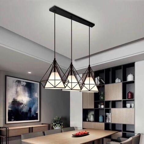 Luz de Techo Moderno Tres Cabeza Diamante Vara Largo Lampara Colgante Cage Pájaro Jaula de Hierro Metal Decoracion de Comedor Cocina Sala con Cubierto de Tela(Negro)
