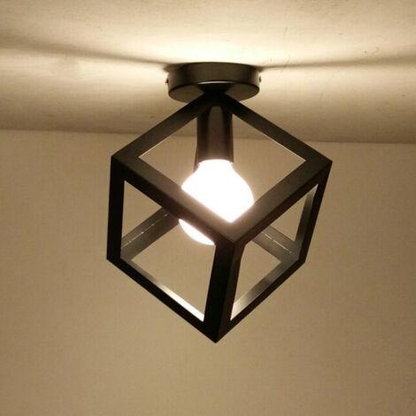 Luz de Techo Retro Cubo Lámpara de Techo Vintage Lámpara de Techo de Metal de Hierro Antiguo Negro