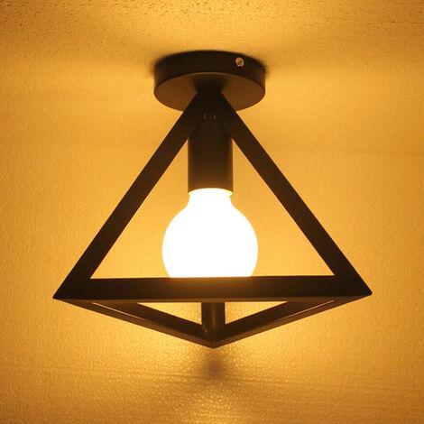 Luz de Techo Triángulo Creativo Lámpara de Techo de Metal de Hierro Lámpara de Techo Industrial Retro Negra