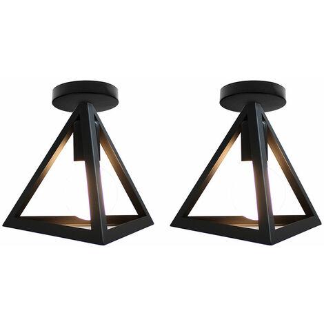 Luz de Techo Triángulo Creativo Lámpara de Techo de Metal de Hierro Lámpara de Techo Industrial Retro Negra(2PCS)