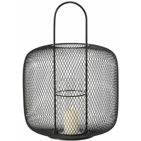 Luz de viento linterna de vidrio luz de viento candelabro de sala de estar deco moderno de metal negro con recipiente de vidrio en óptica de rejilla, DxH 33x48 cm
