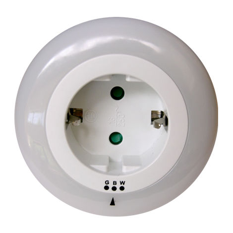 luz de vigilia led con toma y sensor dia / noche. cambia de color (blanco, rosa, azul)