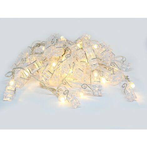 Luz decorativa LED de 5 metros con 40 clips de tela blanca cálida transparente
