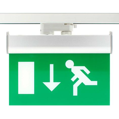 Luz Emergencia permanente para Carril Trifásico Emergency RAIL EXIT, Verde - Verde