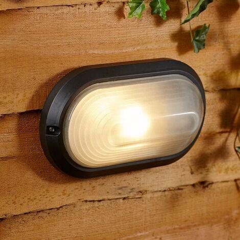 Luz Exterior de Pared Clásica Ovalada Tipo Mampara - Negra IP54 60W