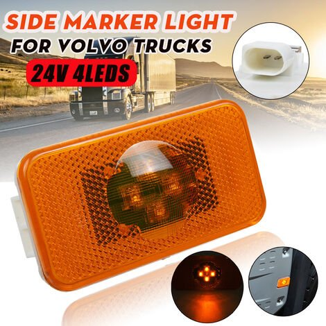 Luz indicadora lateral ámbar de 24 V con 4 LED para camiones Volvo FM / FH