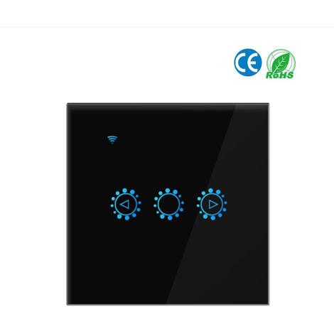 Luz inteligente Conmutador de la luz, de 3 vias pared Wifi interruptor de la lampara tocado, NEGRO