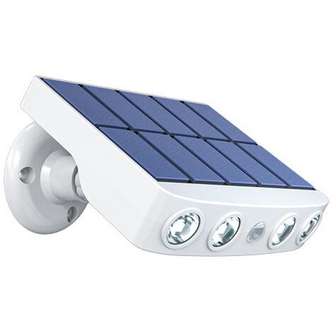 Luz LED con energia solar pared giratoria de la lampara del jardin impermeable Luces con sensor de movimiento al aire libre con el sostenedor, caja blanca con luz blanca calida