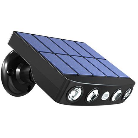 Luz LED con energia solar pared giratoria de la lampara del jardin impermeable Luces con sensor de movimiento al aire libre con el sostenedor, caso Negro con luz blanca calida