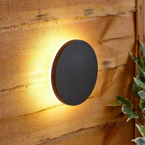 Luz LED Exterior Redonda Eclipse Negro Arriba/Abajo LED IP54 Jardín Patio