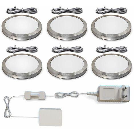 Luz Mueble Cocina I Juego de 6 luces de gabinete I 6x1,8W I 170lm 3000K blanco cálido I Lámparas LED I Accesorios para vitrinas I Downlight de B.K.Licht