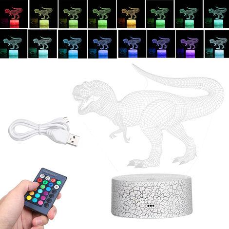 Luz nocturna de dinosaurio 3D, con toque y control remoto