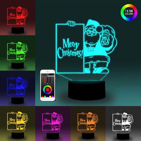 Luz nocturna inteligente 3D, lampara LED de ilusion de tablero, decoracion de Navidad